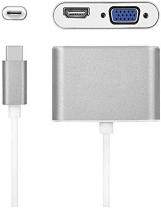 to HDMI 4K+VGA Converter Adapter,Dual monitor 2-in-1 mini converter for 2018 iPad Pro//MacBook Pro//Chromebook//Lenovo 900//Dell XPS//Sams USB C to HDMI /& VGA Adapter Thunderbolt 3 Compatible USB Type C