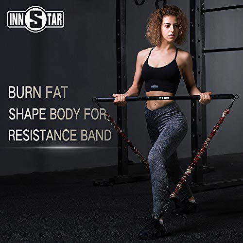 """INNSTAR Home Gym Workout bar 38"""" Black Max Load 800lb for Resistance Bands Training Full Body Exercise Power Lifting Fitness Bar (Black-38'')"""
