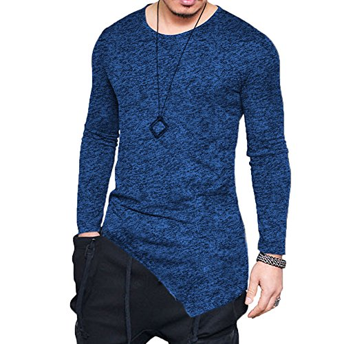 F.Honey Men's Long Sleeve Slim Fit Side Pocket Cowl Neck Swag Irregular Hem Hipster Hip Hop T-Shirt Blouse (Crew Neck-M, Blue(Crew Neck))