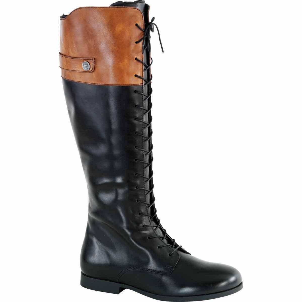 Birkenstock Womens Longford Riding Boot Black/Camel Size 40 EU (9-9.5 M US Women)