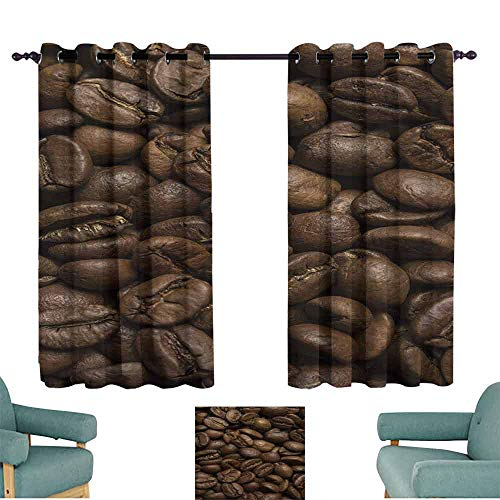 HCCJLCKS Warm Curtain Coffee Flavored Roasted Arabica Beans Ready for Brew Fresh Drink of Mocha for Robust Breakfast Privacy Protection W63 xL72 Brown