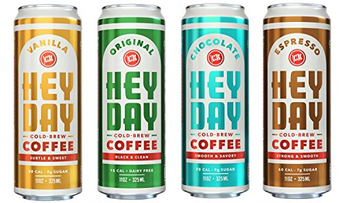 HEYDAY Cold-Brew Coffee, Fair Trade Certified Non-GMO, 4 Flavor Variety Pack, 11oz (12 Count)