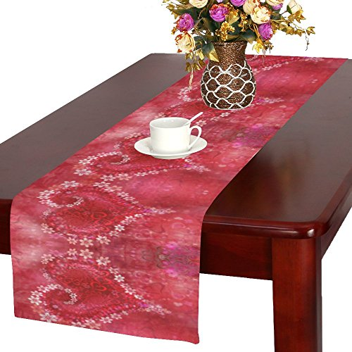 INTERESTPRINT Red Flower Heart with Sparse Heart Polyester Long Table Runner 16 X 72 Inches, St. Valentines Day Table Cloth Placemat for Office Kitchen Dining Wedding Party Home Decor