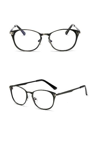 Zhuhaixmy Simple retro pequeño marco gafas moda marco redondo metal gafas sin gafas de moda de fuerz...