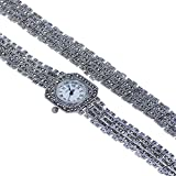 Art Nouveau Ladies Marcasite 925 Sterling Silver Quartz Watch & Bracelet Set