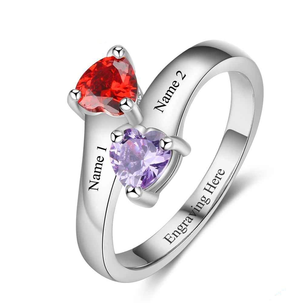 Lam Hub Fong Personalized Promise Rings for Her 2 Heart Shape Birthstone Rings Engagement Rings Sterling Silver Rings for Women (10)