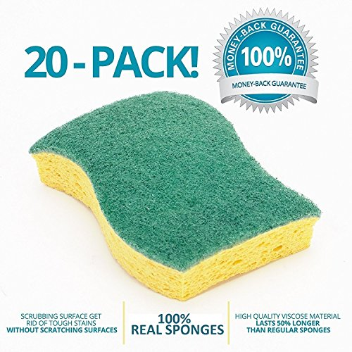 STK 20-Pack Heavy Duty Sponge—Never-Smell Technology—100% Biodegradable