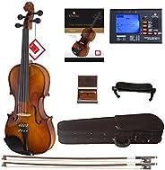 Cecilio CVN-300 Solidwood Ebony Fitted Violin with D'Addario Prelude Str