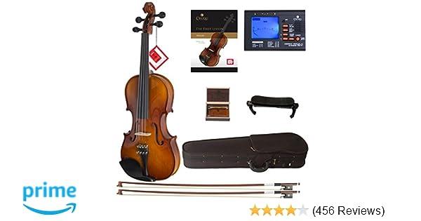 amazon com cecilio cvn 300 solidwood ebony fitted violin with d
