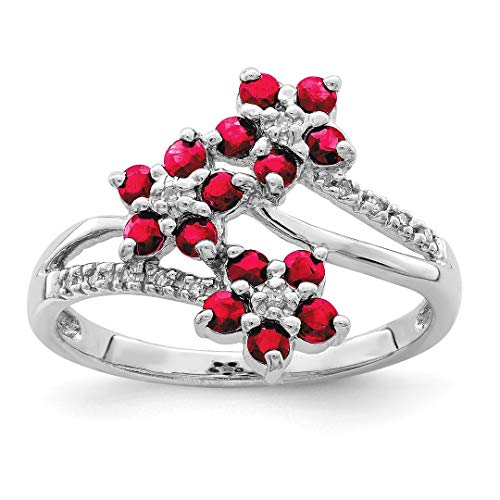 925 Sterling Silver 3 Flower Red Ruby Diamond Band Ring Size 8.00 Flowers/leaf Gemstone Fine Jewelry For Women Gift Set -