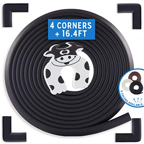 Bebe Earth   Baby Proofing Edge & Corner Guard Protector Set   Safety Bumpers   Child Proof Furniture & Tables   Pre-Taped Bumper Corners (16.4 ft + 4 Corners, Onyx Black)