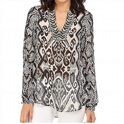 Hale Bob Women's Devil's Advocatelong Sleeve Blouse, Black/White Medium