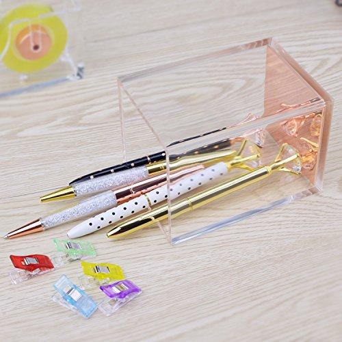 Rose Gold Acrylic Gold Pen Pencil Holder, Desktop Stationery Organizer,Office Desk Accessory Photo #4