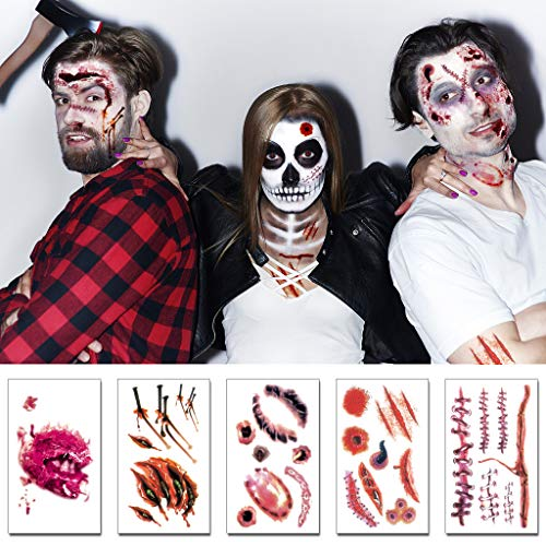 Wound Tattoos Halloween Tattoo Scar for Wounds Tattoos Fake 3D Zombie Halloween Makeup Kit Temporary Tattoos Wounds(5 Pieces)]()