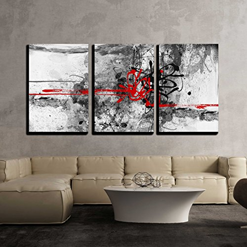 Grunge Art (wall26 - 3 Piece Canvas Wall Art - Highly Detailed Grunge Abstract Textured Collage with Space for Your Text - Modern Home Decor Stretched and Framed Ready to Hang - 24