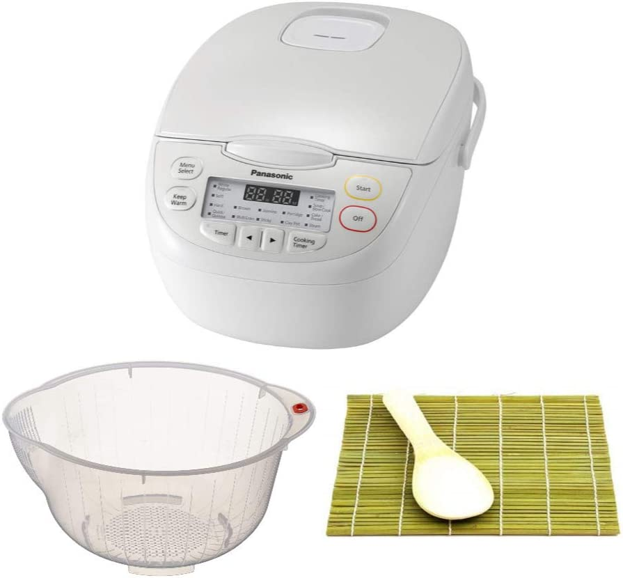 Panasonic SR-CN108 5 Cup Uncooked (1L) Rice and Grains Multi-Cooker - White with Rice Washing Bowl and Bamboo Sushi Mat & Paddle Bundle (3 Items)