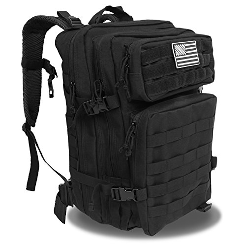 Z ZTDM 40L 3-Day Weekend Pack, Tactical Backpack with MOLLE Webbing, USA Flag Patch, Heavy Duty Rucksack, for Outdoor Hunting Camping Trekking Fishing Travel Trip ()