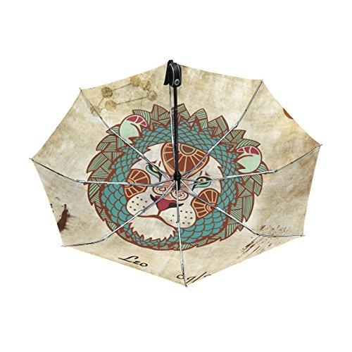 - Franzibla Constellation Zodiac Sign Leo UPF 50+ Anti-UV Parasol Waterproof Windproof Reverse 3 Folds Auto Open Close Lightweight Umbrella