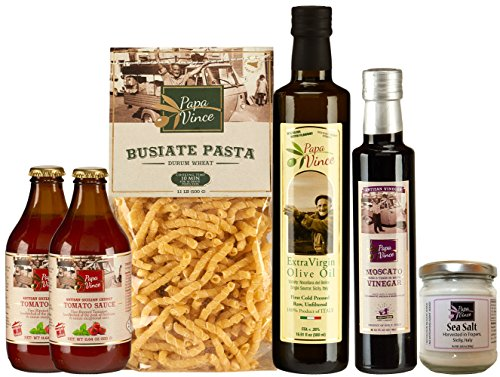 Gourmet Food Gift Set Mediterranean - farm fresh from artisans in Sicily, Italy. Extra Virgin Olive Oil, Balsamic Vinegar, Ancient Grain Pasta, Cherry Tomato Sauce, Trapani Sea Salt - Papa Vince (Italy Gift Basket)