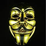 Gold Plated Mascaras Halloween Masks V for Vendetta Anonymous Movie Guy Fawkes Mask