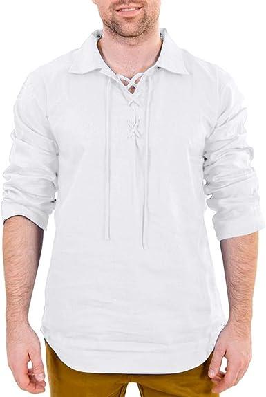 TUDUZ Camisetas Hombre Manga Larga Color Sólido Camisas ...