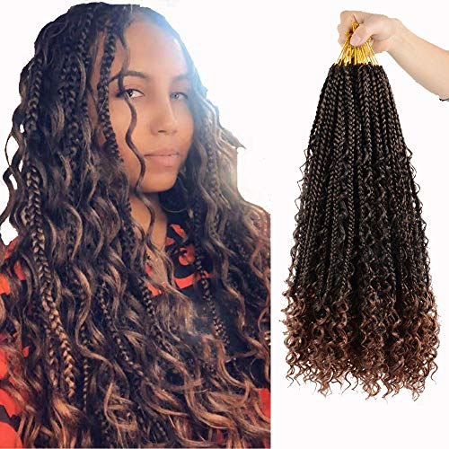 7 Packs Box Braids Crochet Hair 20 inch Box Braids Crochet Braids with Curly Ends 3X Synthetic Braiding Hair Extension (20 Inch,T30)