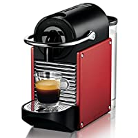 DeLonghi Nespresso EN 125.R Kaffemaschine   1260 Watt   0,7 Liter   Flexible Tassen-Abstellfläche für verschiedene Gläser   rot