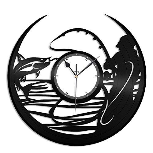 VinylShopUS Fishing Vinyl Wall Clock Record Decorative Animals Unique Gift Room Decor | Unique Gift for Men Women | Home Office by VinylShopUS