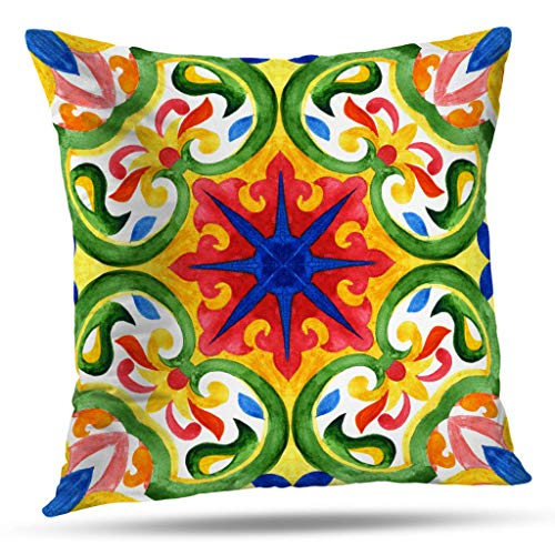 ONELZ Navy and White Pattern Throw Pillow Covers, Tiles Green Gorgeous Seamless Scrapbooking Wallpaper Surface Double-Sided Cushion Cover 18 x 18 Decorative Home Gift Bed Pillowcase
