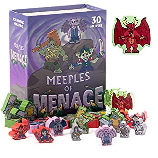Meeples of Menace - 30 Colorful 16mm Minis - Wooden Fantasy Monster Meeple Miniature Accessory Pawns for Tabletop Role Playing RPG and Tactical Strategy Board Game Bulk Token Pieces