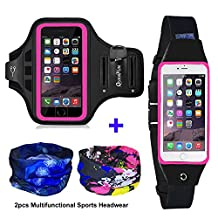 """[3 IN 1] Running Belt + Sports Armband for iPhone 7 6/6s Plus, Fitness Workout Waist Pack Case Bag Gym Jogging Arm Band for Galaxy S8 Plus/S7/S6 Edge+, Men/Women (XS to 4XL), Fits 5.5"""" to 6.2"""" Phones (Armband+Belt, Pink)"""
