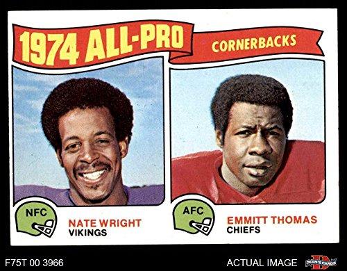 1975 Topps # 220 All-Pro Cornerbacks Nate Wright / Emmitt Thomas Vikings / Chiefs (Football Card) Dean's Cards 5 - EX Vikings / Chiefs