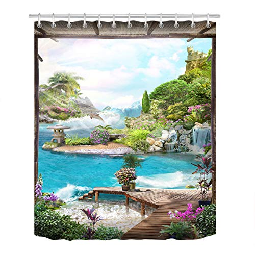Dolphin Waterfall (LB Fairy Tale Paradise World Stall Shower Curtain Set, Nature Mountain Sea Scene Bathroom Decor Curtain, 70x70 Bathroom Curtain Waterproof)