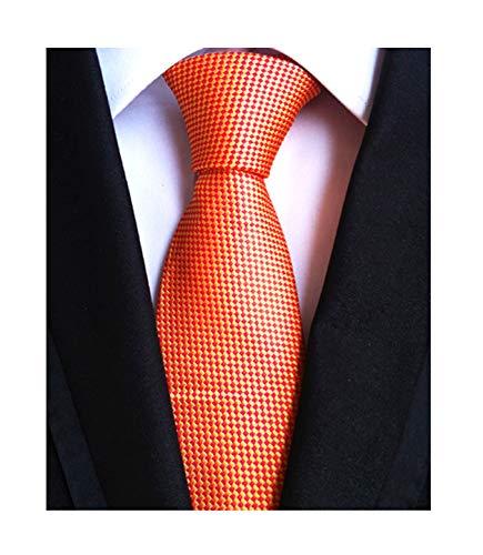 (Men Boy Bright Golden Orange Red Pattern Tie Fall Business Evening Party Necktie)