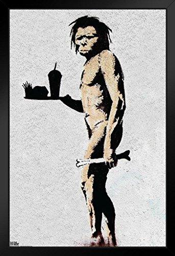 Banksy Caveman Fast Food Graffiti Stencil Street Art Urban Spray Paint Framed Poster 12x18 - Spray Paint Stencil Art