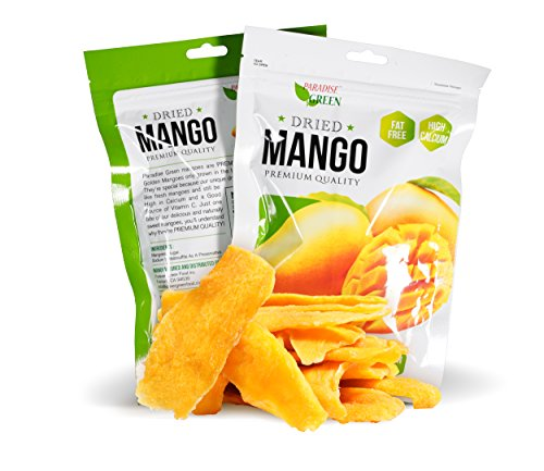 Dried Mango Paradise Green 28oz Sweet Dehydrated Thai Mangoes Sun Dried In Nature (8 bags X 3.5 oz) (1 Pack)