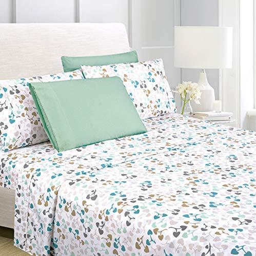 "American Home Collection 6 Piece Bed Sheet Set Super Soft Brushed Microfiber - 14"" Deep Pocket - Wrinkle Resistant - Hypoallergenic (Full, Multi Heart)"