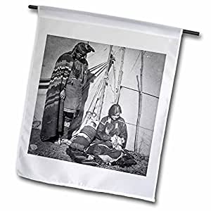 fl_77431_1 Scenes from the Past Vintage Stereoview - Indian Couple with Sleeping Papoose in Oklahoma Stereoview - Flags - 12 x 18 inch Garden Flag