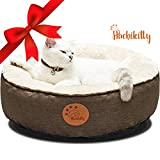 HACHIKITTY Washable Cat Warming Bed Round, Cat Beds Indoor Cats Medium, Small Pet Bed Machine Washable,18'', Brown