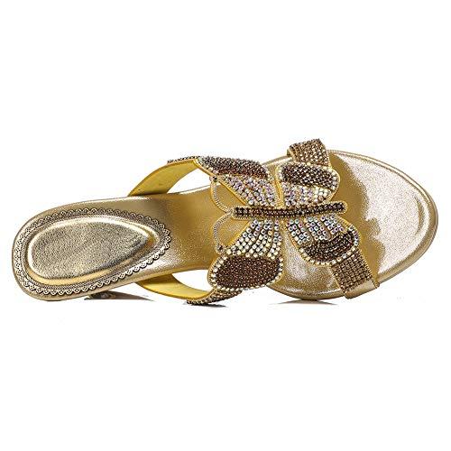 Ciabatte Tacco Open 42 gold Infradito Sandali Pompa Mano Donna Alto Farfalla Strass Fatto Toe Spiaggia wE6qX