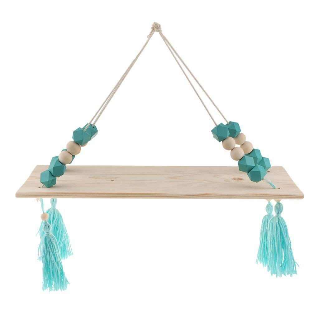 Toogoo Floating Wall Shelf Hanging Tasl Wooden Children's Baby Nordic Style Wall Frame -1 Layer-Wood Color + Green