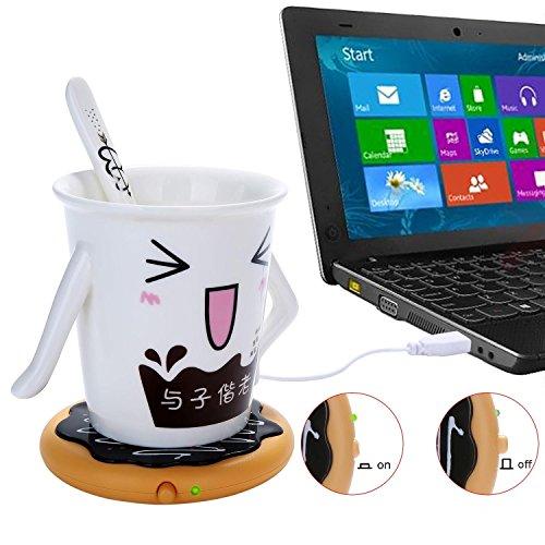 niceEshop(TM) Desktop Laptop USB Heated Coffee / Tea /Milk Mug Warmer, Candle & Wax