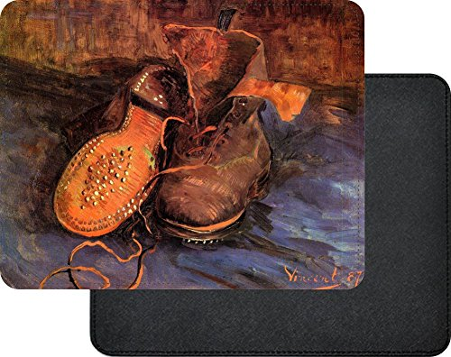 Rikki Knight Van Gogh Art A pair of Shoes Premium Quality Faux Leather Mouse Pad