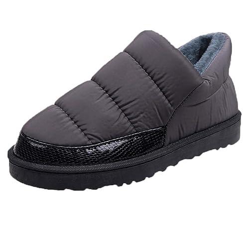 Botas de Nieve para Mujer Invierno Botas y Botines Planos Bajos Zapatos de Algodón Lana Caliente