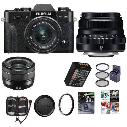 Fujifilm X-T30 Mirrorless Camera with XC 15-45mm f/3.5-5.6 OIS PZ Lens and XF 35mm F/2 RWR Lens, Black - Bundle with 32GB SDHC Card, 52mm Filter Kit, 43mm UV Filter, Memory Wallet, Software Package