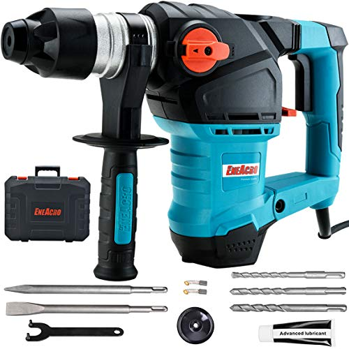 ENEACRO 1-1/4 Inch SDS-Plus 12.5 Amp Heavy Duty Rotary Hammer Drill, Safety Clutch 3 Functions with Vibration Control…