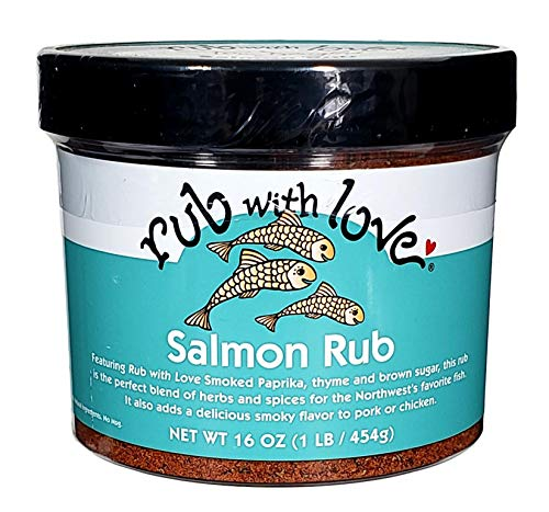 (Rub with Love Salmon Rub Seasoning (16 oz.) All-Natural Herbs and Spices | Classic Dry Rub for Fish, Chicken, Pork, or Steak | Rich, Smoky Flavor)