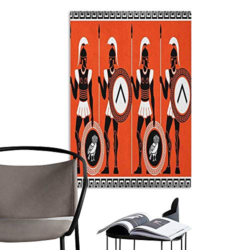 Jaydevn 3D Murals Stickers Wall Decals Toga Party Artistic Historical Figures in Ancient Greece Theme Mystical Cultures Orange Black White Sofa Background Wall W20 x H28