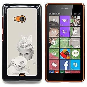 "Qstar Arte & diseño plástico duro Fundas Cover Cubre Hard Case Cover para Nokia Lumia 540 (Blanco Arte pop del gato"")"
