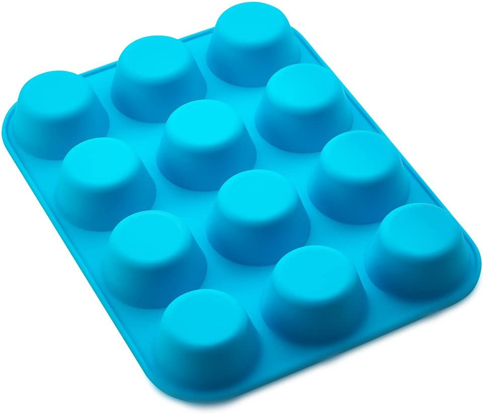 Kitch N' Wares Small Silicone Mini Muffin Pans - Pack of 2 Non-Stick Bakeware for Muffins, Cakes and Cupcakes - 12 Cups Silicone Mold Baking Tray - Heat Resistant up to 450 Degrees Fahrenheit - Blue